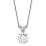 1.90 carat, 8.0MM Classic 4-prong Round Moissanite Solitaire Necklace in White Gold