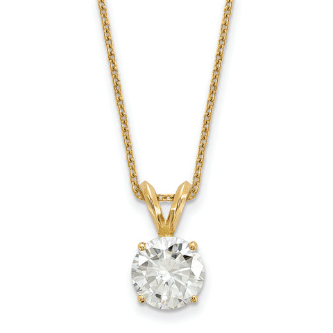 1.90 carat, 8.0MM Classic 4-prong Round Moissanite Solitaire Necklace