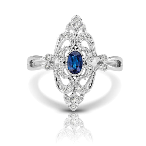 Diamond & Blue Sapphire Diamond-Shaped Vintage Ring