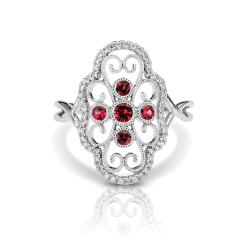 Diamond & Ruby Clover Vintage Style Ring
