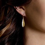 Yellow Gold and Diamond Leaf Shaped Earrings