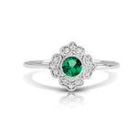Diamond Floral Ring with Round Emerald