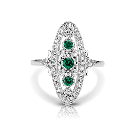 Diamond & Emerald Oval Vintage Style Ring