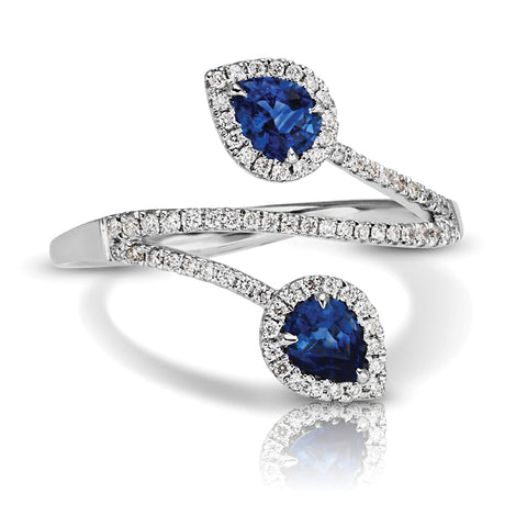 Diamond & Blue Sapphire Wrapped Fashion Style Ring