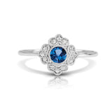 Diamond Floral Ring with Round Blue Sapphire