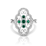 Diamond & Emerald Clover Vintage Style Ring