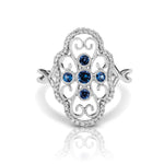 Diamond & Blue Sapphire Clover Vintage Style Ring