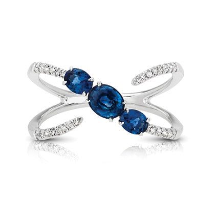 Diamond & Blue Sapphire Interlocking Fashion Style Ring