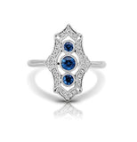 Diamond & Blue Sapphire Scalloped Vintage Style Ring