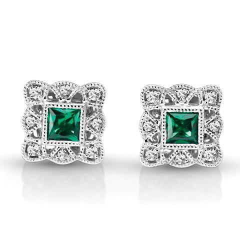 Vintage Style Diamond & Emerald Earrings