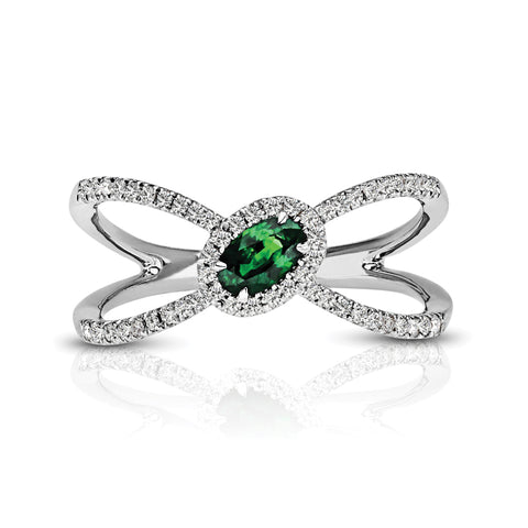 Diamond & Emerald Butterfly Ring