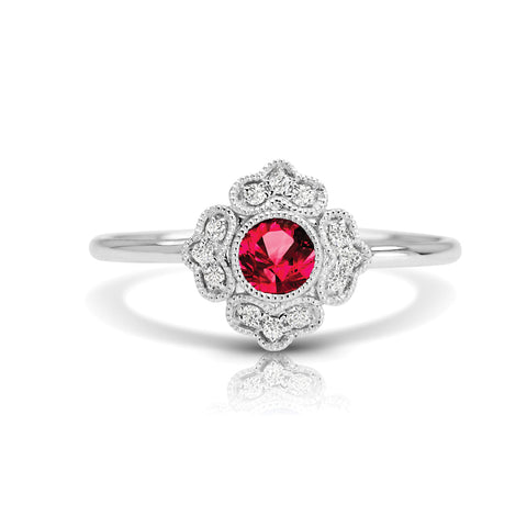 Diamond Floral Ring with Round Ruby