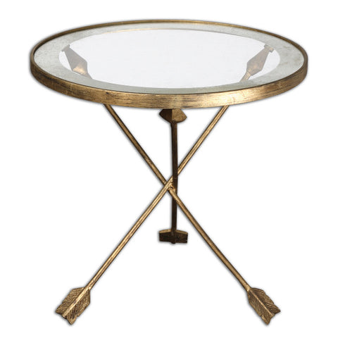 "Arrow Glass Top Side Table - 20""h"