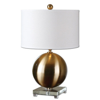 "Brass Globe Table Lamp- 25""h"