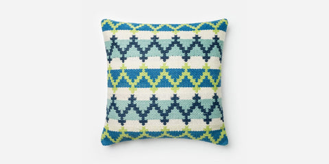 Blue/Green Hand Woven Pillow 20x20