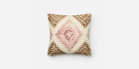 Beige Lilac Jute Wool Pillow - 18x18