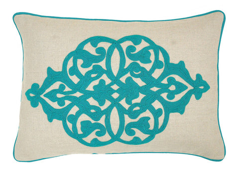 Aqua Vine Down Pillow- 14x20 - Set of 2