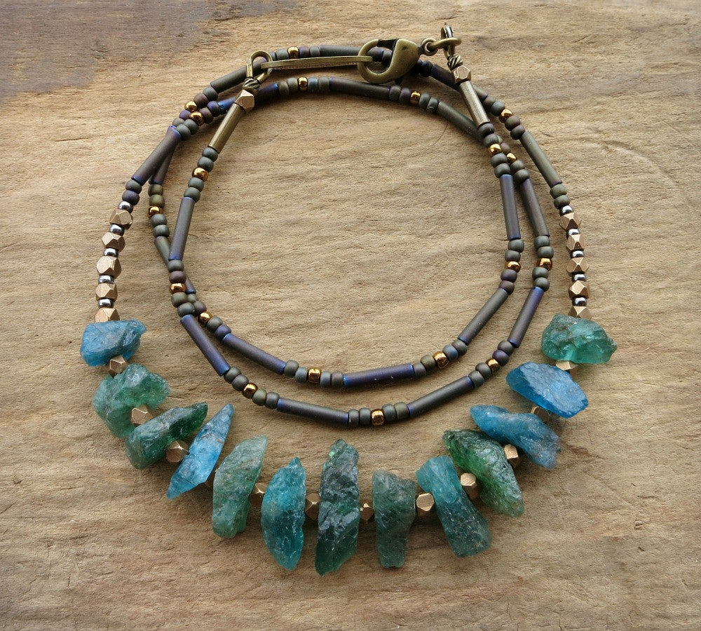 res beaded statement green blue hi citrus necklace cleo rhodium