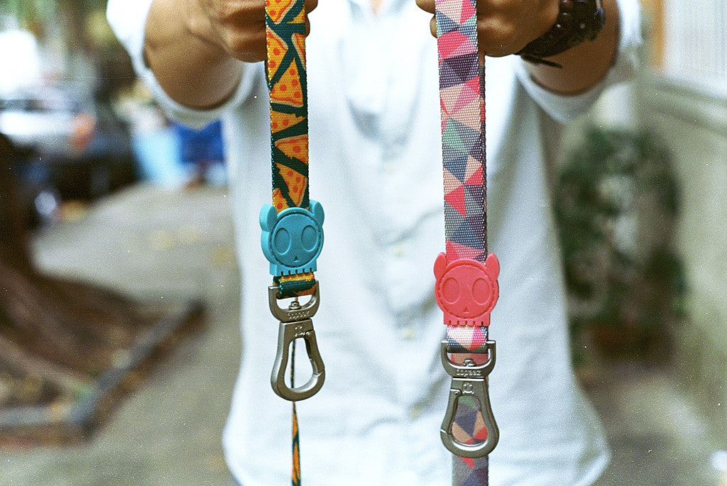 Man holding NYC Pizza Dog Leash and Skyfall Dog Leash | Zee.Dog