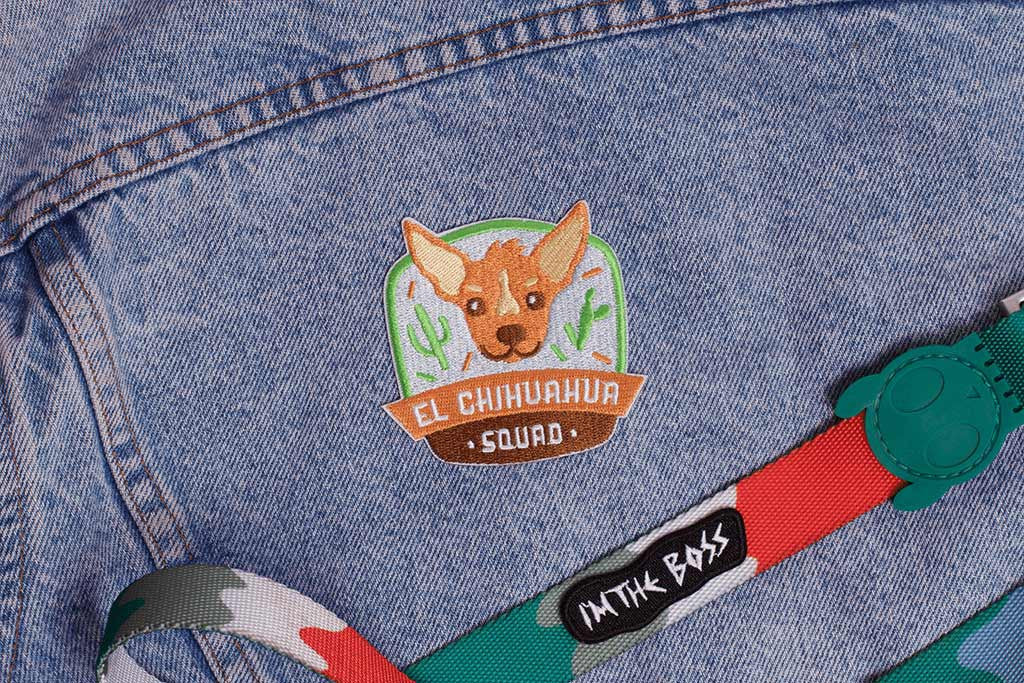 El Chihuahua Squad Dog Patch applyed on jacket | Zee.Dog