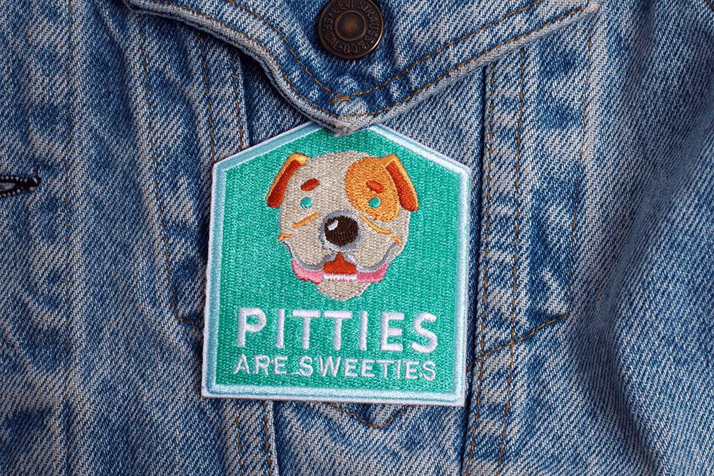 Pitties are Sweeties Dog Patch applyed on jacket | Zee.Dog