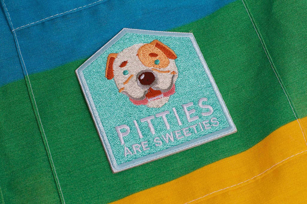 Pitties are Sweeties Dog Patch applyed on shirt | Zee.Dog