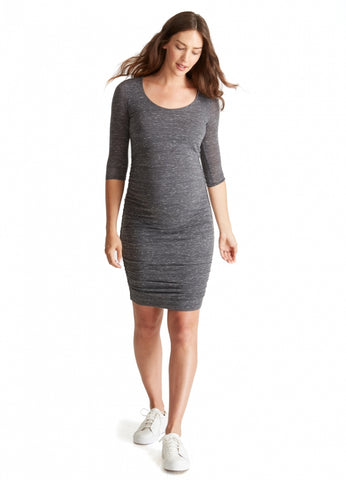 3/4 Sleeve Shirred Dress