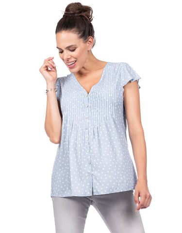 Claudia Blue Dot Top
