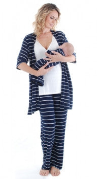 Roxanne Pajama Set - Navy Stripe
