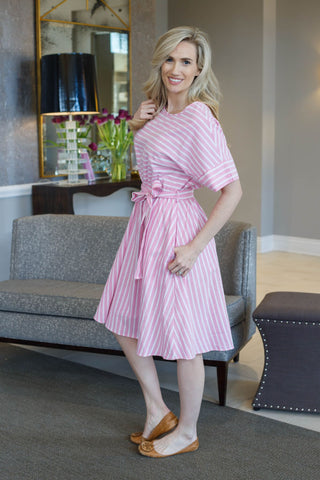 Greyson Striped Dress Pink