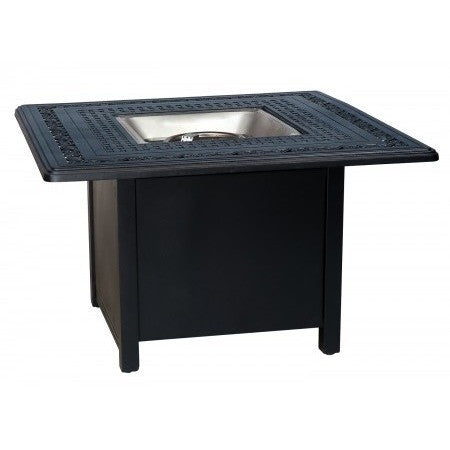 "Empire 42"" Square Chat Height Fire Pit with Burner Cover and Square Base, Outdoor Furniture, Woodard - Danny Vegh's"