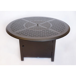 "Hampton 48"" Round Chat Height Fire Pit with Burner Cover and Square Base, Outdoor Furniture, Woodard - Danny Vegh's"