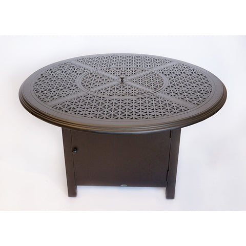 "Hampton 48"" Round Chat Height Fire Pit with Burner Cover and Square Base"