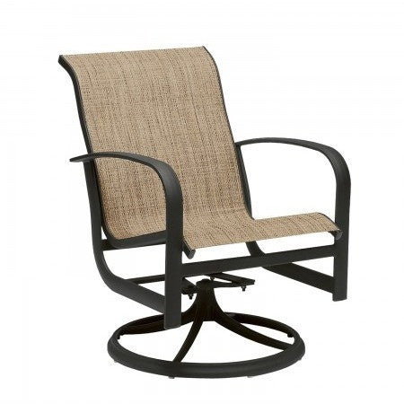 Fremont Sling Swivel Rocker Dining Chair, Outdoor Furniture, Woodard - Danny Vegh's
