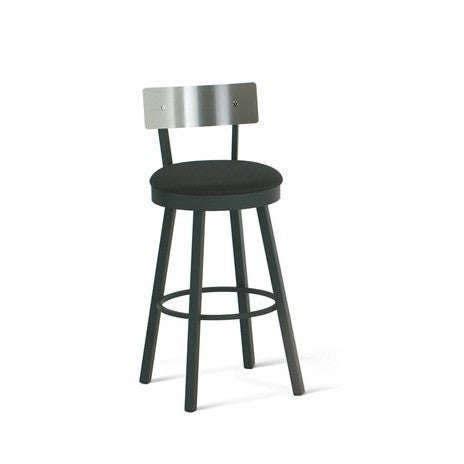 Lauren Swivel Stool with Stainless Back Rest, Kitchen and Bar Stool, Amisco - Danny Vegh's