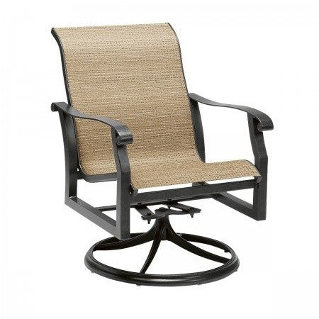 Cortland Padded Sling Swivel Rocker Dining Arm Chair, Outdoor Furniture, Woodard - Danny Vegh's