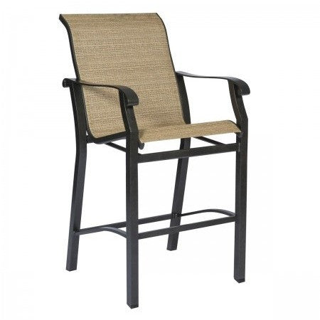 Cortland Sling Stationary Bar Stool, Outdoor Furniture, Woodard - Danny Vegh's