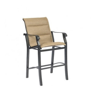Cortland Padded Sling Stationary Bar Stool, Outdoor Furniture, Woodard - Danny Vegh's