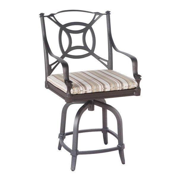 Isla Swivel Counter Stool with Optional Seat Cushion, Outdoor Furniture, Woodard - Danny Vegh's