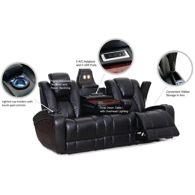 Galaxy Power Leather Sofa w/ LED Console, Theater Seats, Danny Vegh's - Danny Vegh's