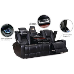 Galaxy Power Leather Sofa w/ LED Console - Danny Vegh's