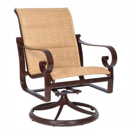 Belden Padded Sling Swivel Rocker Dining Arm Chair