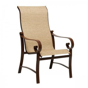 Belden Sling High Back Dining Arm Chair, Outdoor Furniture, Woodard - Danny Vegh's