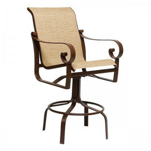 Belden Sling Swivel Bar Stool, Outdoor Furniture, Woodard - Danny Vegh's