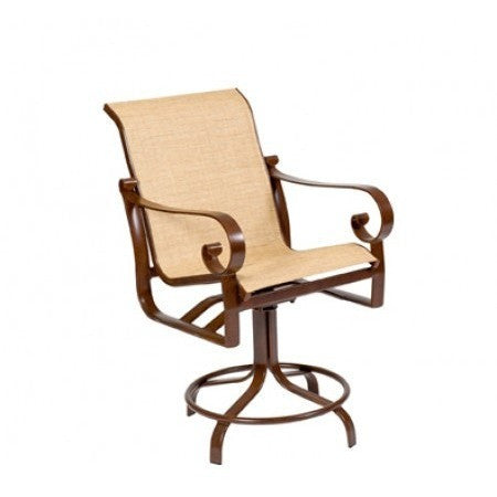 Belden Sling Swivel Counter Stool, Outdoor Furniture, Woodard - Danny Vegh's
