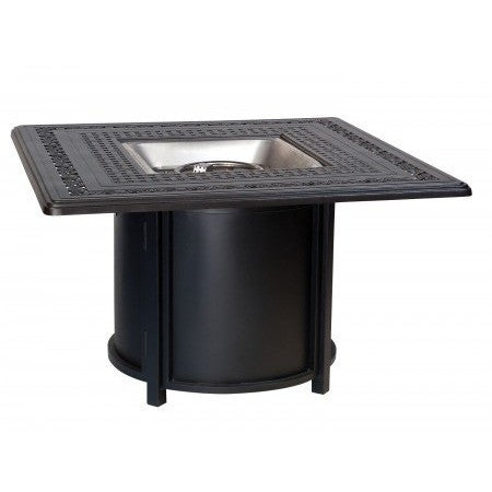 "Empire 42"" Square Fire Table and Chat Height Universal Round Base with Square Burner, Outdoor Furniture, Woodard - Danny Vegh's"