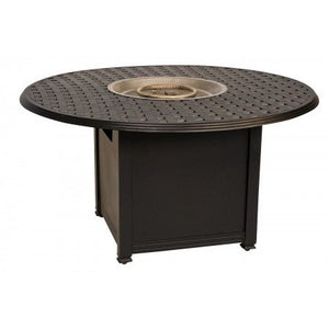 "Thatch 48"" Round Chat Height Fire Pit with Burner Cover and Square Base, Outdoor Furniture, Woodard - Danny Vegh's"