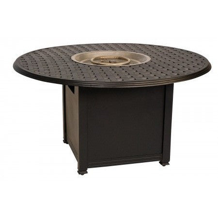 "Thatch 48"" Round Chat Height Fire Pit with Burner Cover and Square Base"
