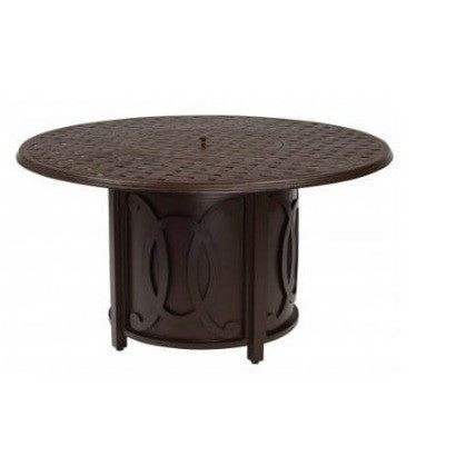 "Thatch 48"" Round Fire Table and Belden Accented Universal Chat Height Base with Round Burner, Outdoor Furniture, Woodard - Danny Vegh's"