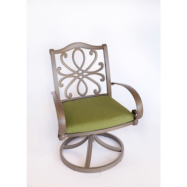 Holland Swivel Rocker Dining Arm Chair with Cushions, Outdoor Furniture, Woodard - Danny Vegh's